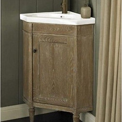 "Fairmont Designs - Fairmont Designs Rustic Chic 26"" Corner Vanity & Sink Set - Weathered Oak - Designed to flaunt the beauty of its wood, Rustic Chic invites you to bring a touch of texture to your bath. The earth-bound, organic look derives its appeal from clean lines and tactile Weathered Oak veneers, accented with subtle brass finished knobs. A variety of cabinet sizes and configurations allows you to customize your space...naturally. Fairmont Designs is described in two words; quality and beauty. Express your creativity with Fairmont Designs bathroom vanities and bath furniture ensembles. The distinctive families of bath furniture from Fairmont Designs come in styles for every bath. Artistry and elegance are delivered in carefully constructed products built with sustainable materials and sturdy craftsmanship. From petite corner solutions to traditional sized pieces, Fairmont Designs is your choice for exquisite and timeless beauty.Features: Materials: White Oak Veneers with White Oak Solids Hinges: Fully concealed, soft closing Doors: 1 Hardware: Brass Dimension: 25-1/8""W x 17-3/4""D x 36""H How to handle your counter View Spec Sheet"