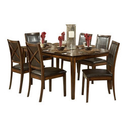 Homelegance - Homelegance Verona 8-Piece Dining Room Set - From traditional to modern, the Verona collection fits beautifully into any home decor. The table features oak veneer with walnut inlay in a distressed amber finish. The chair design features bi-cast vinyl in a deep chocolate finish that is easy to clean and is luxurious to the touch. A stunning combination of color and design gives the Verona dining collection a classic look into contemporary furniture.