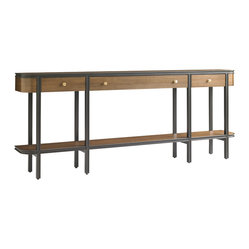 Stanley Furniture - Montreux Living Room Console Table - Alpine Walnut - Brushed Brass hardware adds warmth to the bright, clear Alpine Walnut finish of the Console Table. Three drawers, one shelf. Made to order in America.