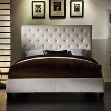 Contemporary Beds Fenton Tufted Upholstered Low Profile Bed - Ivory Linen Ivory White - HME1679