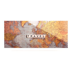 """Kess InHouse - Sylvia Cook """"Travel Map"""" World Metal Luxe Panel (9"""" x 21"""") - Our luxe KESS InHouse art panels are the perfect addition to your super fab living room, dining room, bedroom or bathroom. Heck, we have customers that have them in their sunrooms. These items are the art equivalent to flat screens. They offer a bright splash of color in a sleek and elegant way. They are available in square and rectangle sizes. Comes with a shadow mount for an even sleeker finish. By infusing the dyes of the artwork directly onto specially coated metal panels, the artwork is extremely durable and will showcase the exceptional detail. Use them together to make large art installations or showcase them individually. Our KESS InHouse Art Panels will jump off your walls. We can't wait to see what our interior design savvy clients will come up with next."""