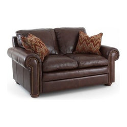 Steve Silver Yosemite Leather Loveseat with 2 Accent Pillows - Chestnut
