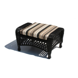Wicker Paradise - Outdoor Wicker Ottoman - Montauk Shown in Black - Outdoor wicker ottoman is framed on aluminum.