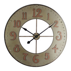 YOSEMITE HOME DECOR - Iron Wall Clock - This open design wall clock provides a contemporary way to accent your walls. This wall clock is made of durable iron and finished in an aged olive with rust colored numbers.
