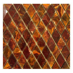 """Marbleville - Multi Red Onyx 1"""" x 1"""" Polished Diamond Pattern Mesh-Mounted Marble Mosaic  in 1 - Premium Grade Multi Red Onyx 1"""" x 1"""" Polished Mesh-Mounted Marble Mosaic is a splendid Tile to add to your decor. Its aesthetically pleasing look can add great value to the any ambience. This Mosaic Tile is constructed from durable, selected natural stone Marble material. The tile is manufactured to a high standard, each tile is hand selected to ensure quality. It is perfect for any interior/exterior projects such as kitchen backsplash, bathroom flooring, shower surround, countertop, dining room, entryway, corridor, balcony, spa, pool, fountain, etc."""