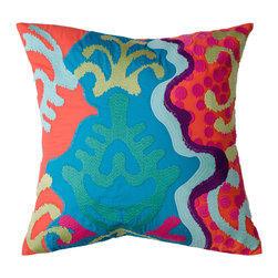 "KOKO - Totem Pillow, Pink/Mauve/Green, 18"" x 18"" - Ooh, the colors! Throw something psychedelic into your mix with this imported cotton pillow. As if the design isn't groovy enough, the appliqué and embroidery add please-touch appeal."