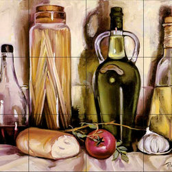 The Tile Mural Store (USA) - Tile Mural - Pasta & Olive Oil - Kitchen Backsplash Ideas - This beautiful artwork by Theresa Kasun has been digitally reproduced for tiles and depicts Olive Oil and Pasta jars.  Our kitchen tile murals are perfect to use as part of your kitchen backsplash tile project. Add interest to your kitchen backsplash wall with a decorative tile mural. If you are remodeling your kitchen or building a new home, install a tile mural above your stove top or install a tile mural above your sink. Adding a decorative tile mural to your backsplash is a wonderful idea and will liven up the space behind your cooktop or sink.