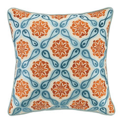 Bahir Embroidered Pillow - Vibrant colors will add a pop to any space.