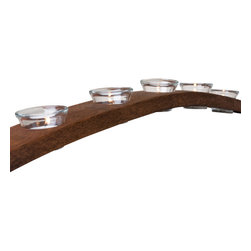 Alpine Wine Design - Barrel Stave Candle Holder - When you need a little mood lighting to go with that bottle of wine, light up the night with this gorgeous tea light holder. Beautifully crafted by hand from retired red wine barrels, the natural arc from the stave sets the stage for elegant illumination.