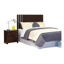 Standard Furniture - Standard Furniture Strata 2-Piece Headboard Bedroom Set in Warm Brown - Strata bedroom has a fresh modern vibe with its edgy asymmetrical details and eye-catching metallic accents.