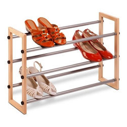 3-Tier Expandable Wood And Metal Shoe Rack - Honey-Can-Do SHO-01372 3-Tier Expandable Stackable Shoe Rack, Metal and Wood.  Customize your shoe storage with this versatile 3-tier shoe rack. As your shoe collection grows, the rack expands from 25 inches to 46 inches wide. Plus, the stackable design means you can add multiple racks for even more storage without taking up more floor space. The sturdy metal and wood frame is rust-resistant and coordinates nicely with any decor. Some assembly required.