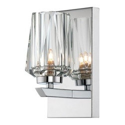 Alternating Current Ginsu 1-Lt Bath Fixture - 3.63W in. Chrome - Like a diamond reflecting a candle, the shiny cut crystal of the Varaluz Shar-Pei Bathroom Wall Sconce - 3.63W in. Chrome is alight with style. The simple steel and faceted crystal design is sleek, modern, and oh-so sparkly. Add a touch of elegant ambiance to your bath with this gorgeous and unique sconce.About Varaluz:Committed to preserving the earth, Varaluz creates products from reclaimed and recycled materials. Most of their lighting fixtures are made from steel containing 70% or greater recycled content, and 100% recycled glass. This practice helps cut down on manufacturing waste, giving you peace of mind when installing their fixtures in your home.