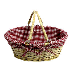 Oval Willow Basket with Double Drop Down Handles - Red Gingham - Add some natural style to the home with this Willow Baskets with Fabric Lining. These beautiful baskets are made of wicker, basket is lined with a cloth material.