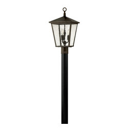 Hinkley Lighting - Hinkley Lighting Trellis Traditional Outdoor Post Lantern X-BR1341 - Simple details add to the elegant, refined look of this clean but stylish Hinkley Lighting outdoor post lantern. From the Trellis Collection, the gentle tapered body features four sides and clear seedy glass window panes that expose three candelabra lights. This post light also features an eye-catching Regency Bronze finish that pulls the entire look together.