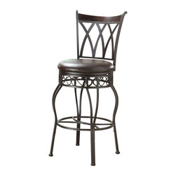 PRI - PRI Adjustable Metal Barstool in Metallic - PRI - Bar Stools - DS599501 -  Durably crafted of sleek metal construction with a thick padded seat  covered in bonded leather. Our barstools boast a Made in America 53 ball  baring swivel mechanism.  This high quality American engineered swivel  provides a high quality smooth and quiet 360 degree rotation.  Perfect  for any kitchen or entertainment area of the home.