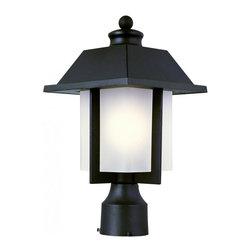 Joshua Marshal - One Light Black White Frosted Rectangle Glass Post Light - One Light Black White Frosted Rectangle Glass Post Light