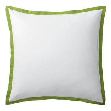 "Serena & Lily - Grass Border Frame Euro Sham - A clean, simple design for those who crave a quieter bed. Tailored from crisp white 300-thread-count 100% cotton sateen; finished with a 1"" flange in grass."