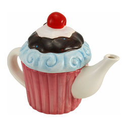 Zeckos - Adorable Ceramic Cupcake Teapot Home Accent Pink with Cherry - This adorable teapot is a great addition to your collection Made of ceramic, it measures 7 1/4 inches tall, 9 1/2 inches long, and 5 1/2 inches wide. The delectable details of the cupcake are hand painted, and they give this piece its whimsical quality. It adds a colorful accent to tables and shelves in your kitchen or bakery, and makes a great gift for a friend.