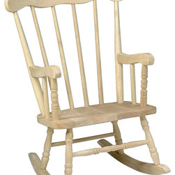 International Concepts - Children's Boston Wood Rocker - Made of ParaWood. Unfinished. Minimal assembly required. 15 in. W x 13 in. L x 29 in. H. Seat Height: 11.5 in.. Seat Width: 15.5 in.. Seat Depth: 11 in.. Arm Height: 18.5 in.. Width between Arms: 13.5 in.