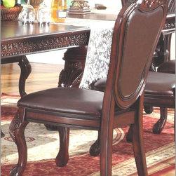 McFerran Home Furnishings - Traditional Leather Side Chair in Dark Cherry (Set o - McFerran Home Furnishings - Traditional Leather Side Chair in Dark Cherry (Set of 2) - MCFD9500-S