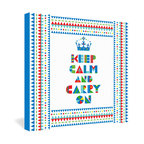 "DENY Designs - Andi Bird Keep Calm and Carry On Gallery Wrapped Canvas - When life gets a little too serious, this colorful evocation to ""keep calm and carry on"" can help lighten the mood. Andi Bird's animated design is topped off with a crown as a little reminder to rise above life's more mundane problems. The frameless canvas is lightweight and glass-free, helping to keep things simple and casual."