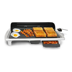 Elite Cuisine - White Electric Indoor Griddle - Hot and flat, this electric griddle allows for a variety of cooking options while lending its modern design to your kitchen décor.   24.64'' W x 4.15'' H x 12.36'' D Aluminum Hand wash Imported