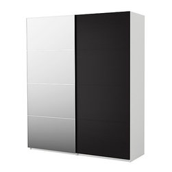 IKEA of Sweden - PAX Wardrobe with sliding doors - Wardrobe with sliding doors, white, Malm mirror/black-brown