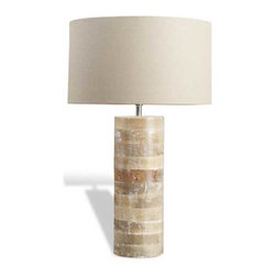 Interlude Home - Interlude Home Sagamore Wood Lamp - This Interlude Home Wood Lamp is crafted from Wood and finished in White Wash; Tan Shade.  Overall size is:  18 in. W x  18 in. D x 26 in. H.
