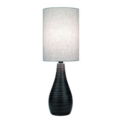 """Lite Source - Lite Source LS-2997 28"""" Tall Table Lamp from the Quatro Collection - *Table LampThis series of four hand-brushed, dark bronze table lamps are brimming with modern styling. The LS-2996 and LS-2997 use a tapered body, while the LS-2998 and LS-2999 us an oblong body. Both meet a cylindrical linen shade at the body�s apex. The two sizes allow you to use the same style in multiple areas of your home or office.60W IncandescentA Type Bulb(Bulb NOT Included)E-27 SocketOn/Off Rotary SwitchShade Dimensions: 13.5"""" x 9""""Base: 5"""""""