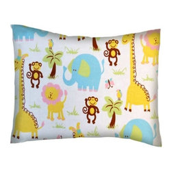 SheetWorld - SheetWorld Twin Pillow Case - Flannel Pillow Case - Safari Fun - Made in USA - Twin pillow shams. Made of an all cotton flannel fabric. Fits a standard twin size pillow. Side Opening. Features safari fun print.