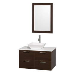 Wyndham Collection - Amare Bathroom Vanity in Espresso, White Stone Top, White Porcelain Sink - Modern clean lines and a truly elegant design aesthetic meet affordability in the Wyndham Collection Amare Vanity. Available with green glass , acrylic resin or pure white man-made stone counters, and featuring soft close door hinges and drawer glides, you'll never hear a noisy door again! Meticulously finished with brushed Chrome hardware, the attention to detail on this elegant contemporary vanity is unrivalled.