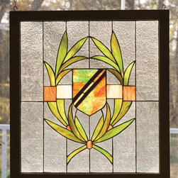 Meyda Tiffany - Meyda Tiffany 98097 Shield Wood Framed Window - This handsome Shield pattern of Avocado Green, Burgundy, and Honey adorn a Clear seedy glass window. The window is handcrafted utilizing the copperfoil construction process and stained art glass encased in a wood frame. Mounting bracket and chain are included.