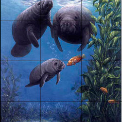 The Tile Mural Store (USA) - Tile Mural - Sb - Manatee, A New Friend - Kitchen Backsplash Ideas - This beautiful artwork by Sambataro has been digitally reproduced for tiles and depicts a manatee family.  Our mermaid and manatee tile murals are a great way to add something unique to your kitchen backsplash tile project. Make your tub and shower surround bathroom tile project exceptional with one of our decorative tile murals of mermaids or manatees. Decorative tiles with mermaids are beautiful and timeless and will never go out of style. Make a mermaid tile mural or a tile mural of manatees part of your bathroom wall tile and enjoy this tile mural every day in your newly renovated bathroom.
