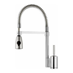 Elkay Arezzo Faucet | LK7420 - This pre-rinse faucet has a single lever and solid brass construction. For ultimate convenience, the base and spout swing 360 degrees — so you can get every last crumb, stain, and dried-up gunk off your dishes.