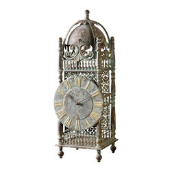Yaxha Clock - There is about the Yaxha Clock an air of the mysterious, the fascination of new-found artifacts. Crafted from iron and elegantly detailed, the clock features a chestnut brown finish accented with a heavy sage green glaze that lends the piece an old-world aesthetic. Placed within a personal library, an eclectic great room, or a grand foyer, the clock is certain to catch the eye as it captures time.