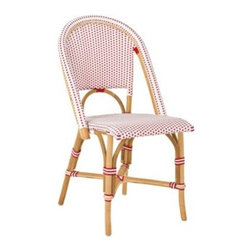 Serena & Lily - Riviera Side Chair Poppy - A classic 1930s European bistro chair, reinterpreted. Handcrafted of sustainable rattan and woven plastic seats, it's great for the kitchen or the patio. Look closely and you'll notice the wonderfully organic marks created while bending and stretching the rattan into shape a time-honored technique perfected by the French. The eye-catching palette of poppy and white makes it easy to work with. Try it with the other silhouettes in this collection (a slight variation in how the colors are woven keeps things interesting).   View dimensions