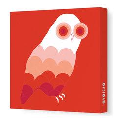 """Avalisa - Animal - Owl Stretched Wall Art, 12"""" x 12"""", Red - Bird up! The ever-popular owl as you've never seen it before, with scallop-motif feathers and concentric circle eyes. Hang this sleek, stretched wall art in a child's bedroom or play area for a sense of wisdom with whimsy."""