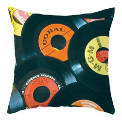 Spin Me Square Pillow - For a flirty accent, decorate your couch, lounge chair, or bedspread with this cool record-patterned throw pillow. Watch and see--when your decor is jiving, soon the guests will follow suit!