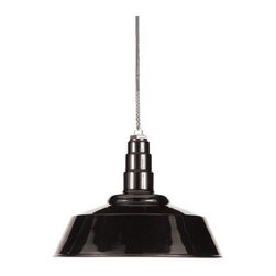 Design Within Reach - Barn Pendant Lamp - Inspired by historical barns and industrial warehouse fixtures from the early to mid 1900s, our Pendant Barn Lamp offers a modern turn with rugged, yet clean styling. The dome and canopy are constructed of spun steel with a white underside that reflects and maximizes light output while softly dispersing the light. Interior turned edges minimize dust collection. Made in U.S.A. The interior surface of the shade is white to reflect and maximize output while softly dispersing the light. ETL listed and suitable for commercial and residential applications, and indoor and outdoor use in covered (damp) areas. Includes black rubber-coated cord with cord grip to support fixture weight. Bulb (not included): maximum 300 watts, standard base (E26).