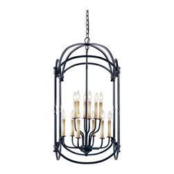World Imports - Model 61407-42: Classical Simplicity Large Rust Lantern Pendant - Add a bit of old world charm to your room with this elegant lantern pendant finished in a rust.  Please note this fixture includes 10? of chain and 12? of wire. World Imports - 614369
