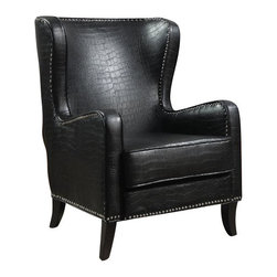 "Coaster - Accent Chair (Black) By Coaster - This sophisticated accent chair is covered in an embossed faux crocodile leather-like vinyl in black with a chrome nailhead trim. Dims: 31.25"" X 36.50"" X 41""."