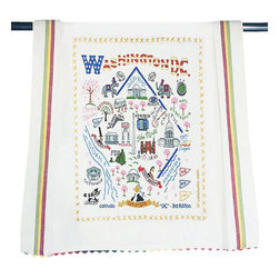 CATSTUDIO - Washington DC Dish Towel by Catstudio - This original design celebrates the Nations Capital.  This design is silk screened, then framed with ahand embroidered border on a 100% cotton dish towel/ hand towel/ guest towel/ bar towel. Three stripes down both sides and hand dyed rick-rack at the top and bottom add a charming vintage touch. Delightfully presented in a reusable organdy pouch. Machine wash and dry.