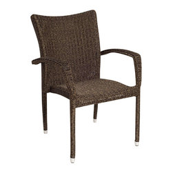 International Home Miami Corp - International Home Miami Atlantic Bari Armchair Set of 4 in Dark Brown - International Home Miami Corp - Outdoor Chairs - PLI Bari arm4 - Ideal for your backyard, pool or outdoor dining space, the Bari 4 piece armchair set is stylish yet comfortable. The intricate wicker construction is exceptionally shaped to fit your body perfectly, creating a relaxed and luxurious retreat. The chairs feature a sturdy aluminum frame that ensures long use for years to come. Resistant to rain and other extreme weather conditions, this 4-piece set, is a worthy investment.