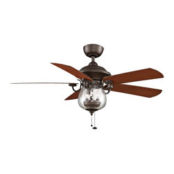 """Fanimation - Country - Cottage 52"""" Fanimation Crestford Bronze Outdoor Ceiling Fan - This 3-speed wet-rated fan from Fanimation's Crestford Collection is a cooling transitional accent for your indoor or outdoor space. Featuring oil-rubbed bronze motor finish with five reversible cherry/walnut blades and a 52 inch blade span. A shapely seeded glass light kits adds exquisite illumination. Limited lifetime motor warranty. 3-speed ceiling fan. Wet location rated. Oil-rubbed bronze motor finish. 5 reversible cherry/walnut wood blades. Seeded glass and oil-rubbed bronze light kit includes three 40 watt candelabra bulbs. 52"""" blade span. 13 degree blade pitch. 21 3/4"""" high ceiling to light kit tip (with included 4 1/2"""" downrod). 153x20 motor size. Airflow CFM is 5308; airflow efficiency CFM is 98. Electricity use is 59. (ON UM)  Oil-rubbed bronze motor finish.  5 reversible cherry/walnut finish blades.  52"""" blade span.  13 degree blade pitch.  172x15 motor size.  Wet location rated.  3-speed pull chain operation ceiling fan.  Seeded glass and oil-rubbed bronze light kit includes three 40 watt candelabra bulbs.  4.5"""" downrod included.  21 3/4"""" high ceiling to light kit tip (with included 4 1/2"""" downrod)."""