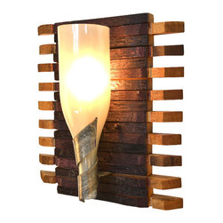 "Wine Country Craftsman - Elegance - ""Santa Fe"" - Wine Barrel Stave & Bottle Sconce - Elegance - ""Santa Fe"" - Wine Barrel Stave & Bottle Sconce - 100% Recycled"