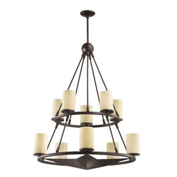 Quorum Lighting - Quorum Lighting Lone Star Transitional Chandelier X-44-01-8226 - Two rings of varied sizes are set at different heights to create the stacked look of this Quorum Lighting chandelier. From the Lone Star Collection, this transitional chandelier also features a large star at the center of the bottom ring. Each ring is adorned with pillar diffusers made from amber scavo glass. The body is finished in Toasted Sienna.