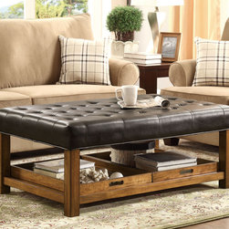 Coaster - Ottoman, Black - This functional piece can be used for table space or extra seating. With a smooth padded surface wrapped in black leather-like vinyl, this ottoman also has two removable serving trays and a shelf below.