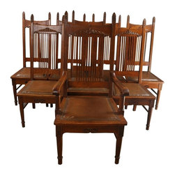 Paine's Furniture Co Boston - Set 8 Victorian Dining Chairs 1900 Oak - Product Details