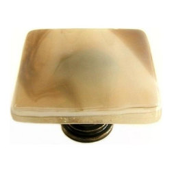 Uneek Glass Fusions - Stone Glass Art Glass Cabinet Knob - Collection: Liscio