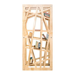 Tangle Bookshelf - Weave your books into this unconventional bookshelf with a wild array of angled shelves. Standing vertically, horizontally, or mounted on the wall, it's a daring piece for quirky decorators. Though the spaces are small and irregular, they fit a ton of books���and style���into a small footprint.